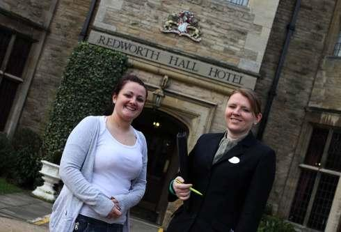 Win a wedding bride Zoe Barraclough visits Redworth Hall for a meeting about their big day she is pictured with Event Manager at the hotel, Vicki Morrison.