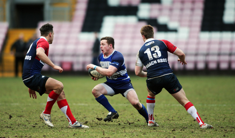 MATCH ACTION: Mowden Park's Craig Dominic looks for a way past Hull Ionians' Chris Reakes, left, and Joey Martin