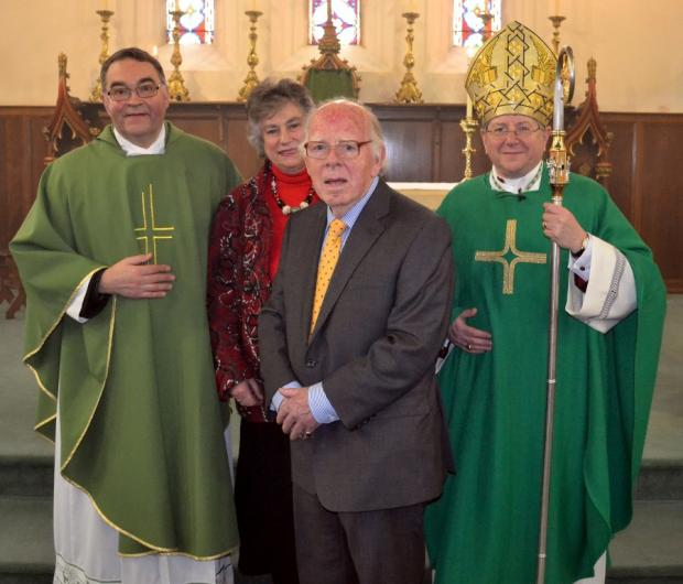 CONVERTS: Mgr Keith Newton, Ordinary of the Personal Ordinariate of Our Lady of Walsingham, (right) is pictured with Father Ian Grieves, priest in residence at St Osmund's Church, Gainford and Ruth and John Evans who recently joined the congregation.