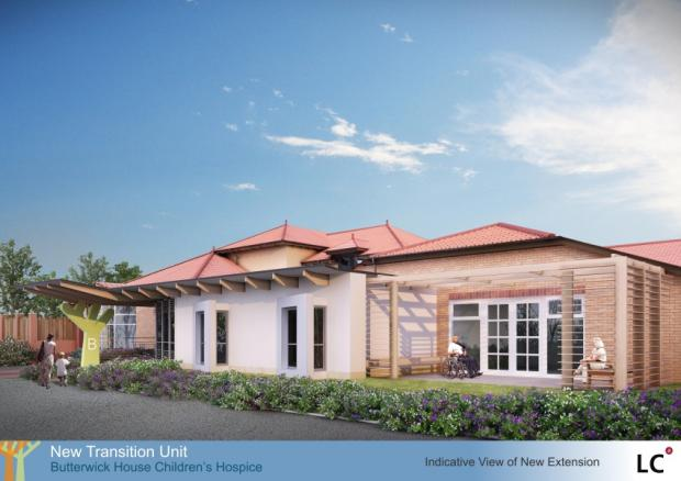 An artist's impression of what the planned young persons' extension at Butterwick Hospice would look like
