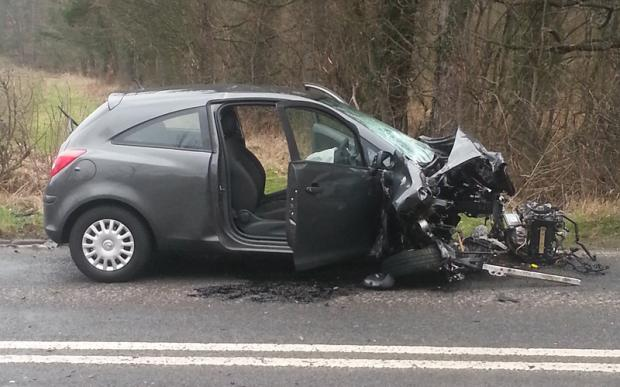 The Vauxhall Corsa involved in the crash on the A67
