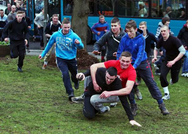 The 2013 Sedgefield Shrove Tuesday Ball Game in full swing