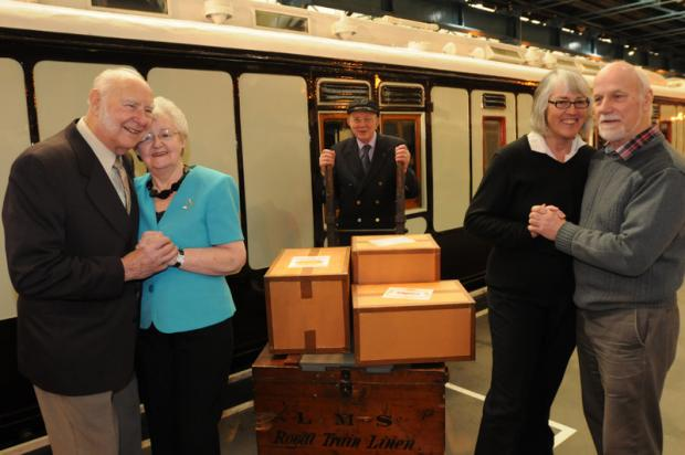 STATION STORIES: Valentine's couples relive their railway romance at the National Railway Museum yesterday. From left, Margaret and Aubrey Blythe, Norman Kemp and Helen and Adrian Ashby