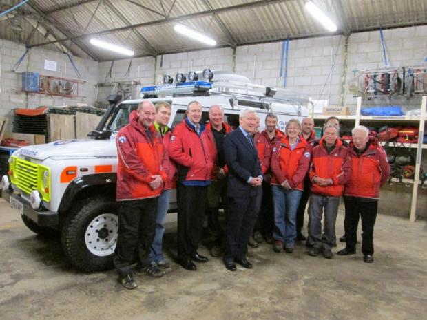 Cleveland Mountain Rescue Team with their new Puma Land Rover