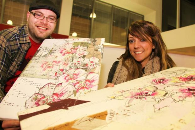 Caption: Artist Stephen Irving with former CCAD student Tiffany Bellwood