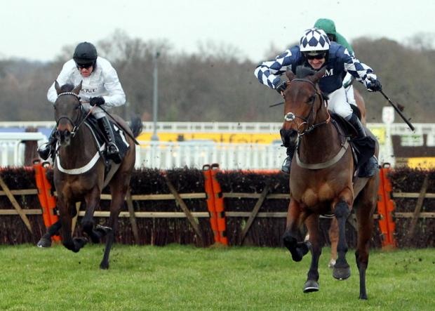 GO WEST: Far West (right) ridden by Ruby Walsh goes on to win the Ironspine Charity Challenge National Hunt during Betfair Ascot Chase Day at Ascot Racecourse, Ascot, on Saturday