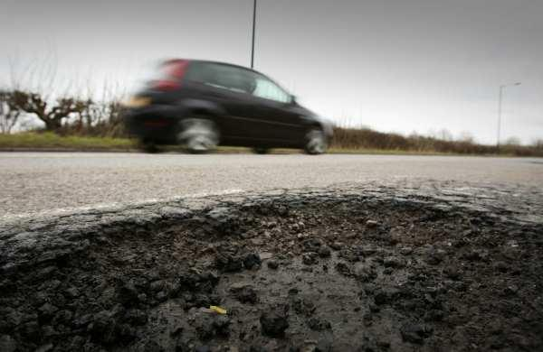 A pothole on Sharon Road in Kelloe, County Durham.