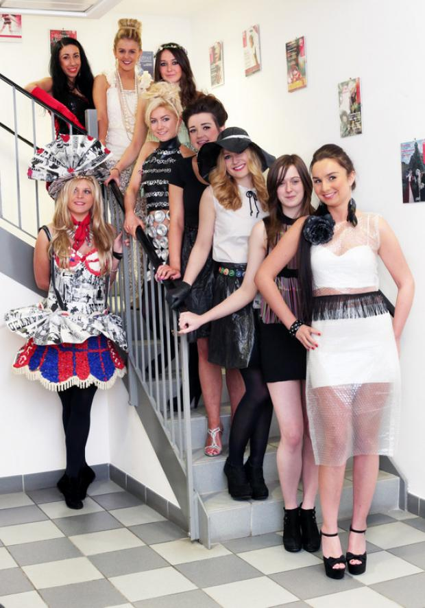 Darlington and Stockton Times: GREEN PARADE: Contestants in the Miss Cleveland contest showcase their eco-fashion outfits at the Hillstreet Centre shopping centre, Middlesbrough