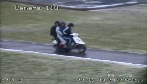 SCOOTER RIDE: Three youths riding a suspected stolen scooter in Darlington