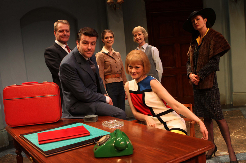 CLASSIC CHRISTIE: The cast of Go Back For Murder, front, Ben Nealon and Sophie Ward with back, from left, Robert Duncan, Sammy Andrews, Liza Goddard and Lysette An