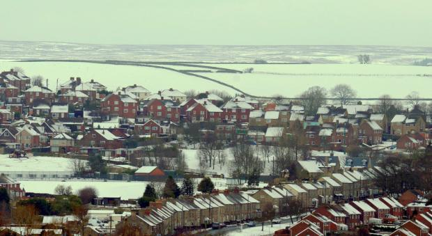 IT'S ALL WHITE: The snow-covered rooftops of Castleside, near Consett, County Durham