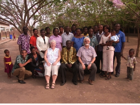 Pauline and Clive Beecham with staff at the Grace Project school