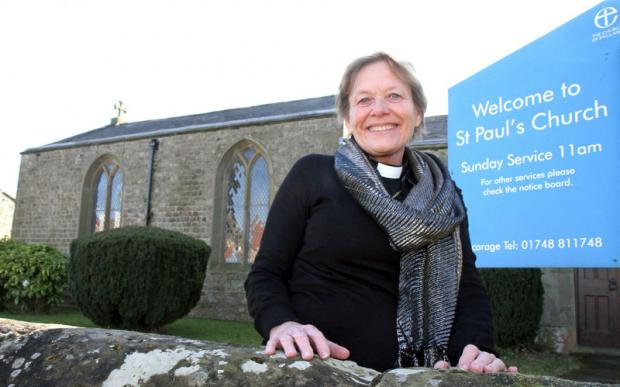 NEW START: The Reverend Yvonne Callaghan outside St Paul's Church, Brompton-on-Swale