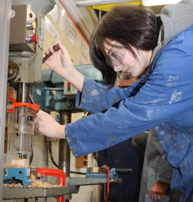 BENCHWORK: Sophie Gill, 15, gets creative in a design and technology lesson at Northallerton College