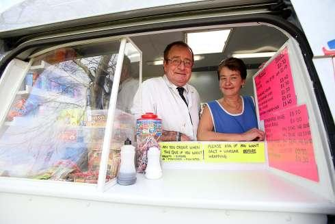 Back selling fish and chips again from a new van are Terry Garner and Jean Stubbs.