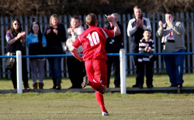 HEALTHY LEAD: David Dowson celebrates putting Darlington 3-0 up Pictures: DAVID WOOD