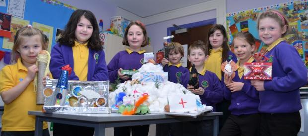 EGGS-TRAORDINARY EFFORT: Ingleton Primary School pupils show off the eggs they used to raise money for Barnardo's.