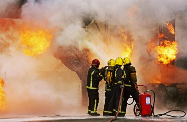 AT WORK: German airport fire-fighters training yesterday