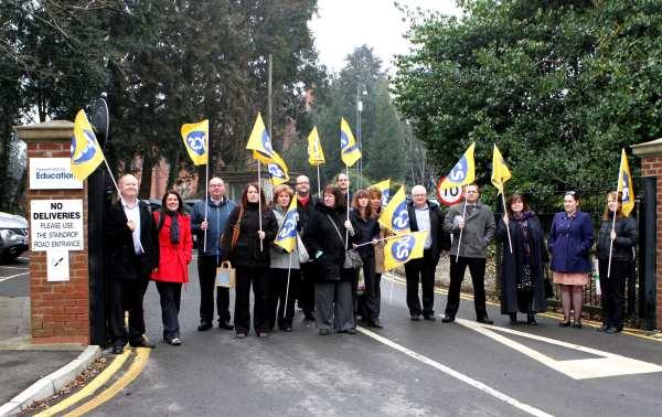 Staff at Mowden Hall walk-out in protest at Department for Education cuts.