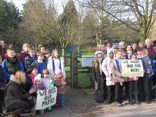CAMPAIGN: Children and parents demonstrate at Masham play park which has been closed by Harrogate Council