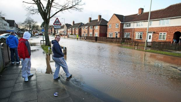 ROAD SUBMERGED: The scene of a burst water main in Darlington