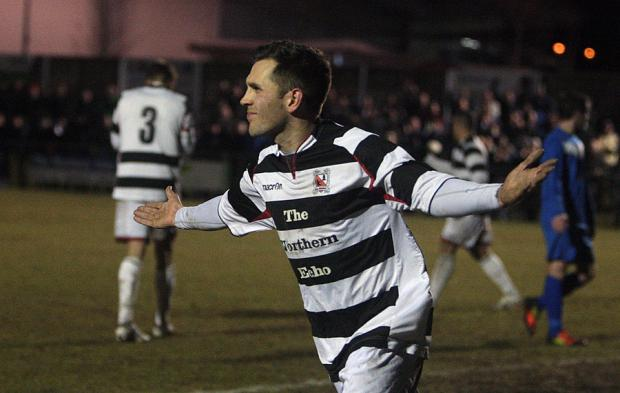 THREE-SY DOES IT: Chris Emms celebrates his hat-trick for Darlington last night