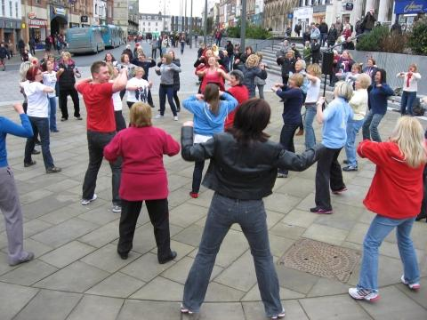 Fit-Lab members take part in Zumba flashmob in Darlington town centre