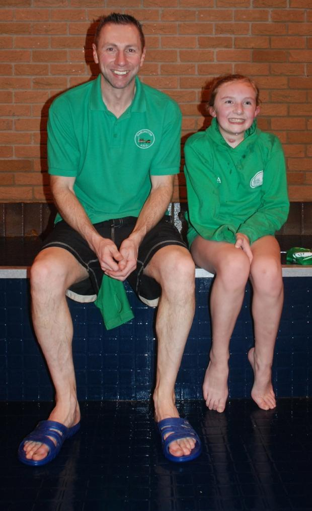 Jay McCabe and coach Jeff Stevenson from Darlington Swimming Club