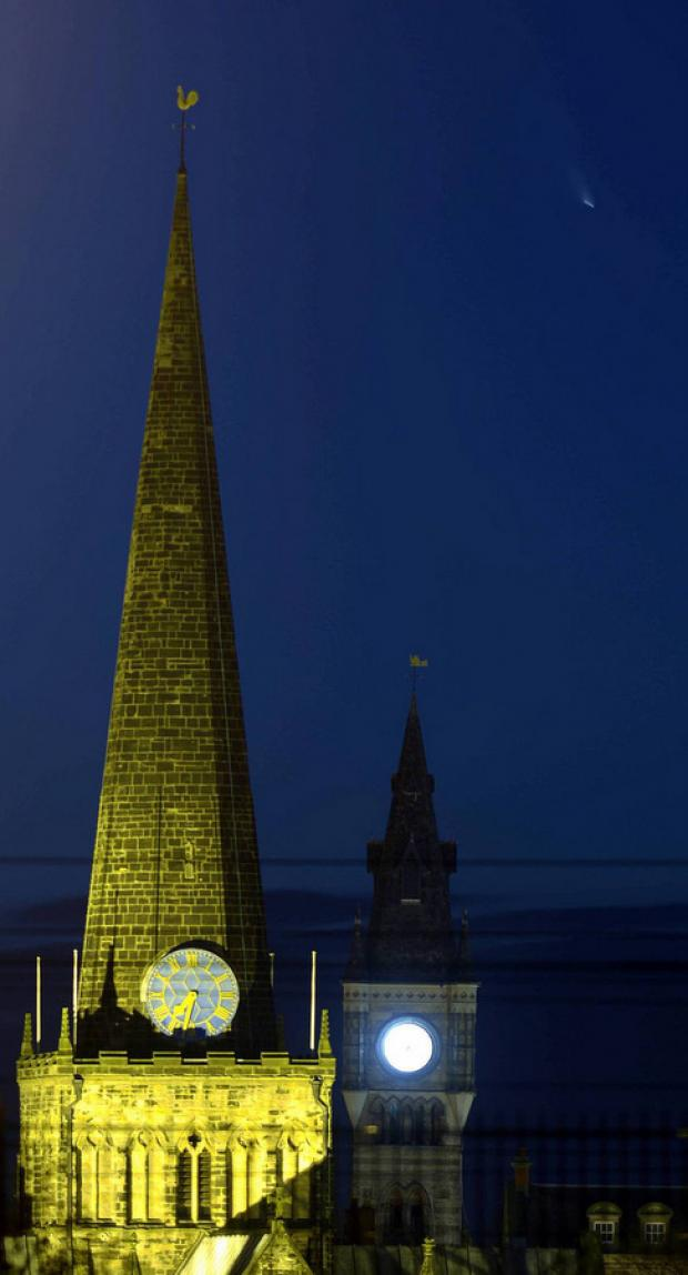 NIGHT SIGHT: The comet to the right of the spire of St Cuthbert's Church, Darlington