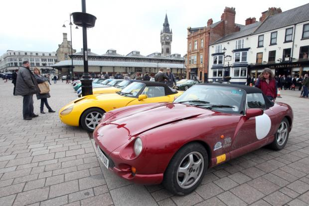 PASSING THROUGH: Cars on display in Darlington's Market Square