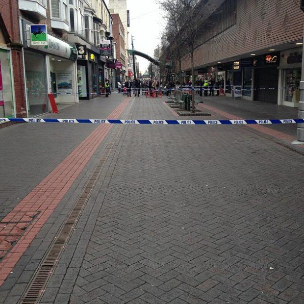 The scene in Middlesbrough that had been evacuated because of a suspicious package arriving at Virgin Media. Picture-  Leslie Grace