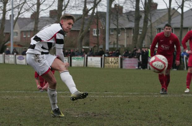 Darlington and Stockton Times: AT THE DOUBLE: Terry Galbraith scored twice in Quakers' win
