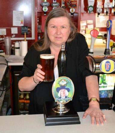 Diane Pickering, who won the competition to name The Quaker ale