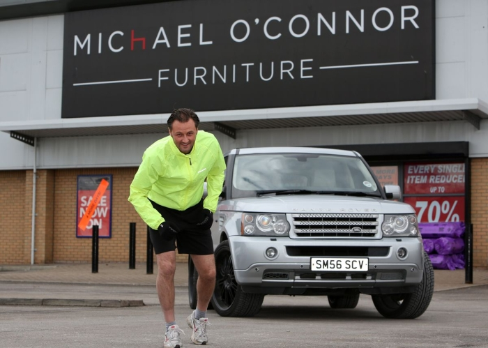 Chris O'Connor, Joint Managing Director of Michael O'Connor Furniture Group prepares for the London Marathon