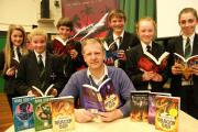WRITE STUFF: Pupils from the Allertonshire School, Northallerton, with Mark Robson