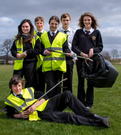 CLEANING UP: Teesdale School pupils involved in the litter pick scheme, Millie Hall, Alec Sabey, Rhys Keeling, Connor Southern, Jenny Wilkinson and Heather McLachlan.