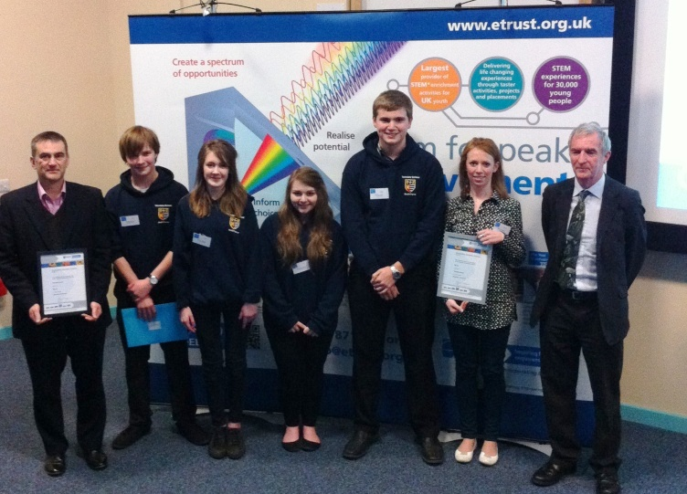 HIGHLY COMMENDED: Teesdale School director of science Iain Clyde with sixthformers Edward Harding, Sarah Bedwell, Olivia Stevenson and Matthew Dent, plus Professor Chris Phillips, dean of undergraduate studies at Newcastle University.