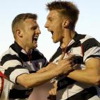 TIME TO PARTY: Terry Galbraith (right) celebrates his goal with David Dowson
