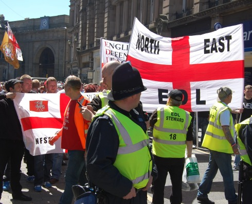 EDL supporters march in Newcastle