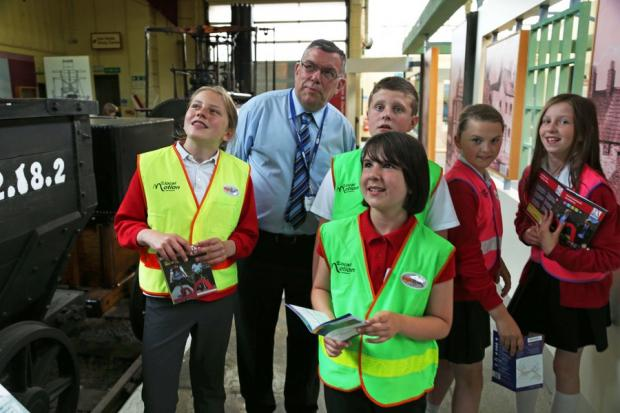Children learn how to be Junior Travel Rangers at Darlington Head of Steam rail museum. Community rail officer Bob Whitehouse with,children from left Rebecca Taylor, 11, Jacob Vickers, ten, Jessica Charlton, 11, Jessica Denham, 11 and Maisie Birkbeck, 11