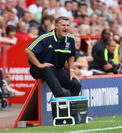 LOUD AND CLEAR: Tony Mowbray shouts instructions during Middlesbrough's victory