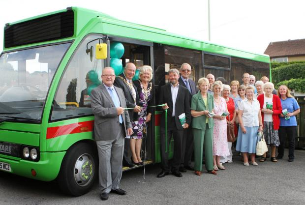 VILLAGE CONNECTIONS: Darlington mayor Charles Johnson launches the Our Bus service, in Darlington last year