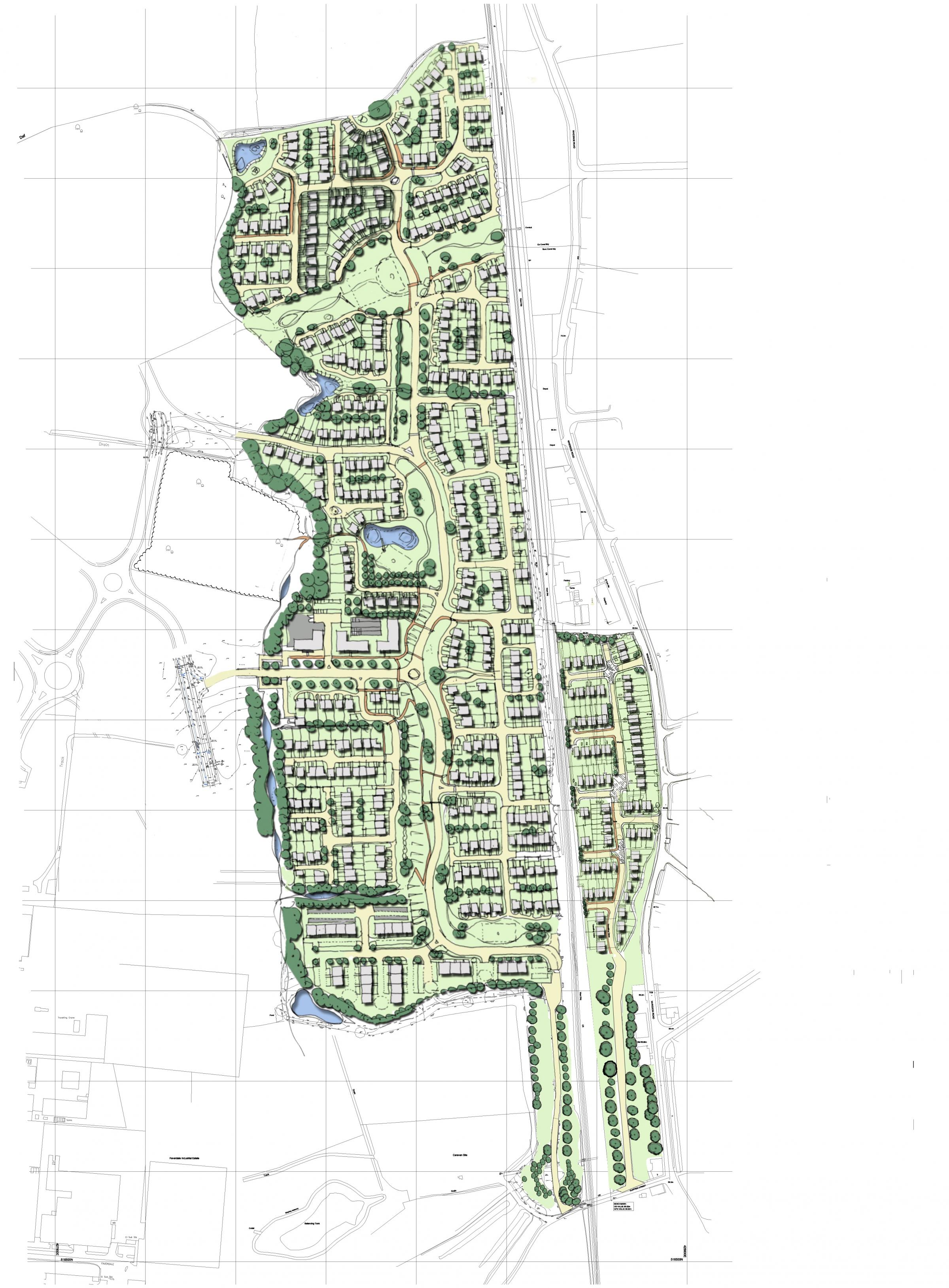 The masterplan for the proposed Faverdale Garden Village development