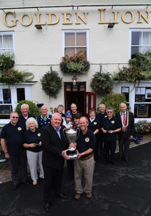 PICK OF BUNCH: Members of Sedgefield in Bloom outside the Golden Lion, which won a prize