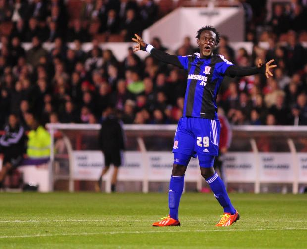 Darlington and Stockton Times: Kei Kamara celebrating after he scored his sides first goal
