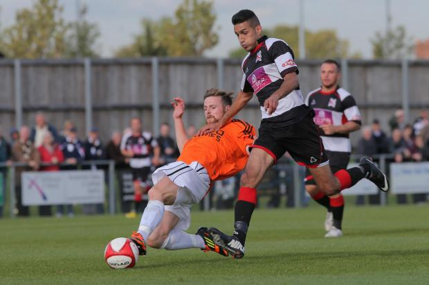Darlington and Stockton Times: BACK OF THE NET: Amar Purewal scored Darlington's second goal on Saturday
