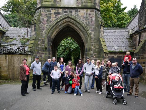 Councillor Anne-Marie Curry, far left, with supporters of the campaign to save the North Cemetery chapel