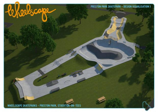 Darlington and Stockton Times: An artist's impression of the new skate park planned for Preston Park near Stockton