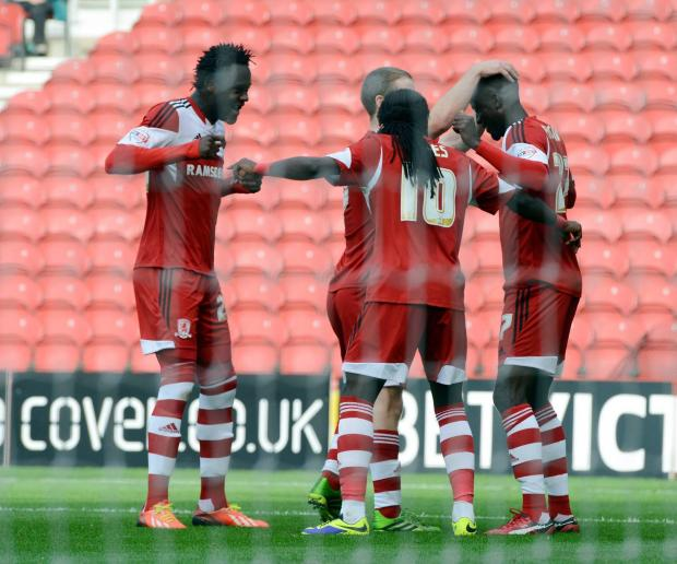 LEADING A MERRY DANCE: Albert Adomah (right) has been in fine form since joining Middlesbrough in the summer