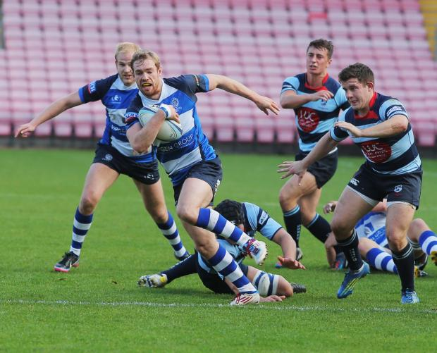 PEACE OFFERING: Mowden Park's Chris Peace on his way to scoring one of 14 tries against Dudley Kingswinford at The Northern Echo Arena on Saturday